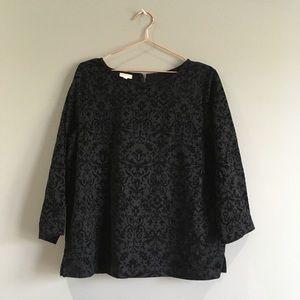 Talbots | Black Floral Velvet Textures Blouse L